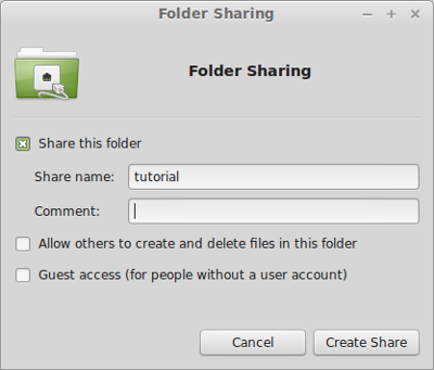 Nemo directory properties - file sharing